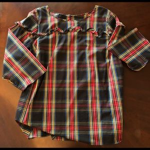 Talbots plaid ruffle poplin popover blouse